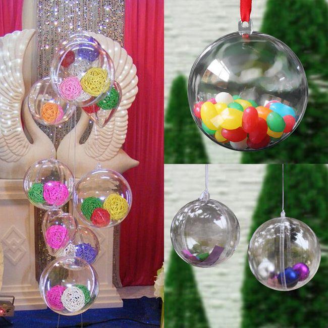 Átlátszó dekoratív golyók felfüggesztésre - 20 db 1