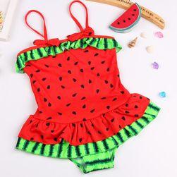 Melounové dívčí plavky s volánky pro věk 2 - 5 let