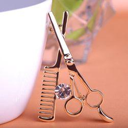 Broška v obliki frizerskih škarj in glavnika - 2 barvi