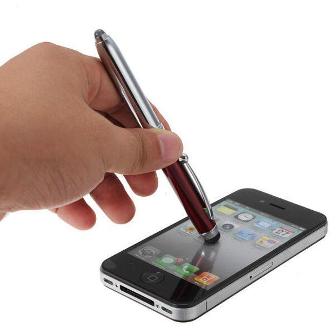 Dotykové pero - stylus - 3 v 1, LED svítilna, kuličkové pero 1