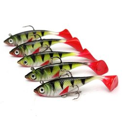 Rybářský wobbler s gumovým ocáskem - 5 ks