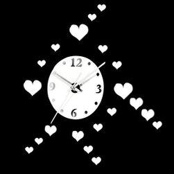 Дизайнов огледален стикер в дизайн на часовник за стена - сърца