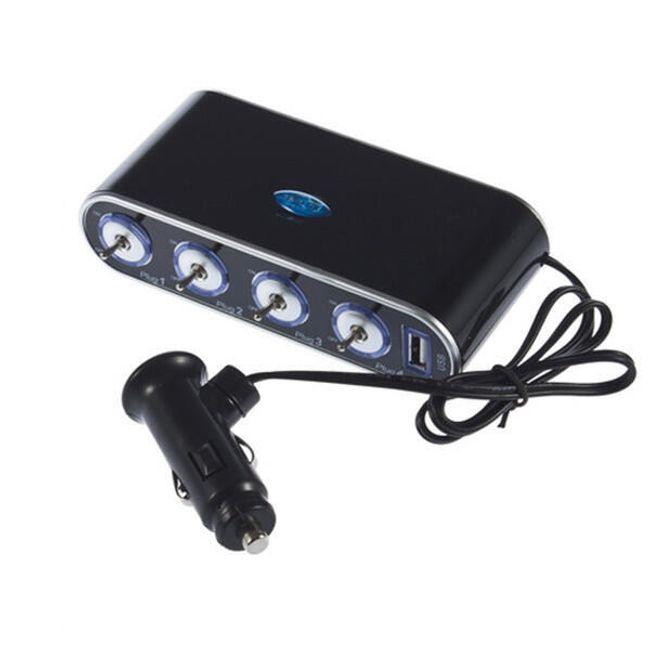 12V/ 24V четверник для автомобильного разъема с USB 1