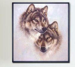 DIY kép hímzéshez 40 x 38 cm - farkasok