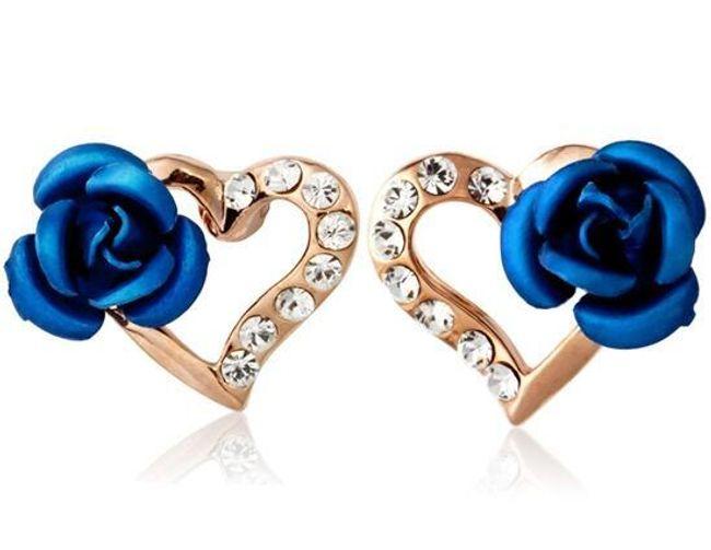 Náušnice s modrou kytičkou 1