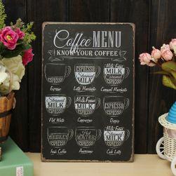 Plechová retro cedule Coffee menu