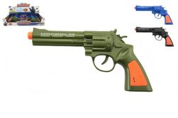 Pistole kolt plast 22cm na baterie se zvukem 2 barvy 12 ks v boxu RM_00311606