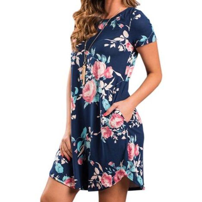 Letní šaty s motivem květin - Modrá-velikost č. 6 1
