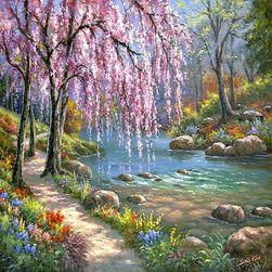 Obraz DIY - Kwitnące drzewo nad rzeką