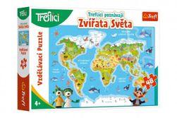 Puzzle Treflíci poznávají Zvířata světa 48 dílků 60x40cm v krabici 33x23x6cm RM_89115568