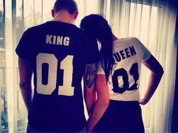 Stylowa koszulka dla par i singli - King i Queen