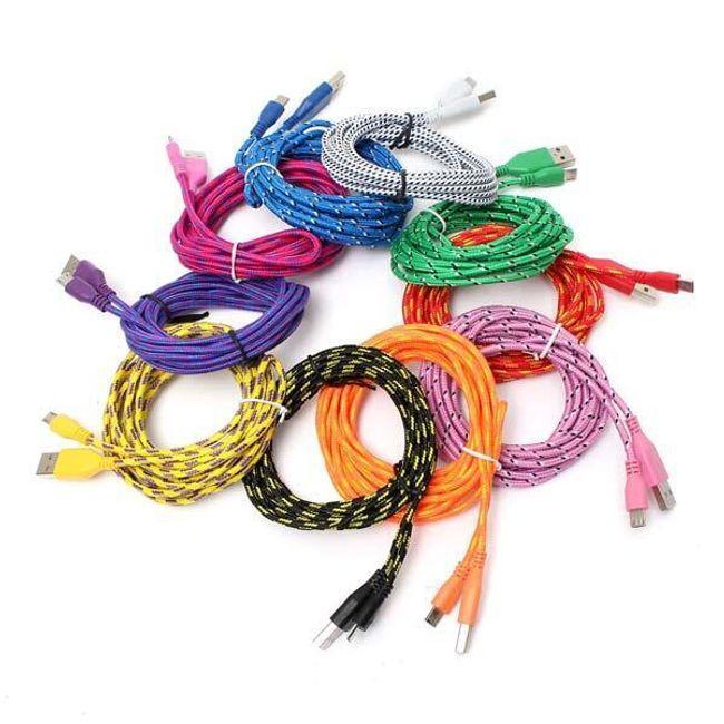 Textil mikro USB kábel 3 m - több szín 1