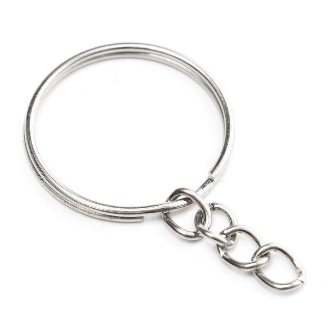 Inel de fier cu lanț pentru breloc - 50 bucăți 1