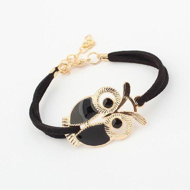 Elegancka bransoletka ozdobiona wisiorkiem w kształcie sowy - do wyboru z 4 kolorów 1
