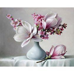 Festmény számok alapján - Magnólia a vázában