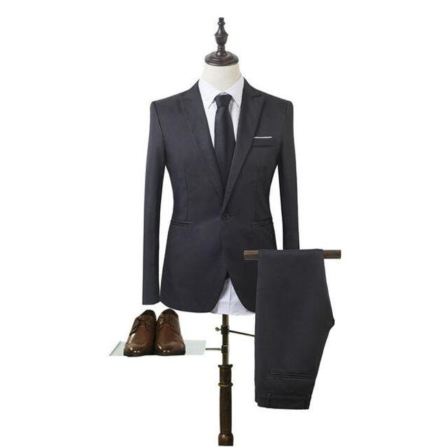 Pánský společenský oblek - Černá-velikost č. 1 1