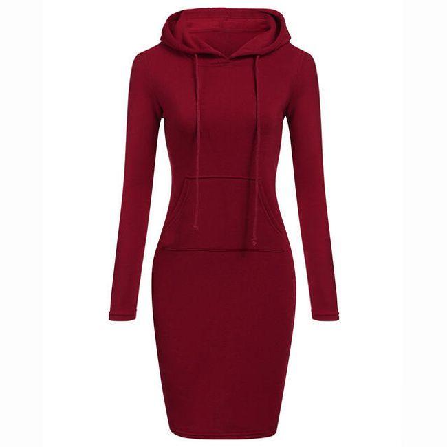 Teplákové šaty s kapucí a klokankou - Červená-velikost č. 3 1