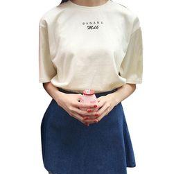 """Roztomilé dámské letní tričko """"BANANA Milk"""" - růžová/béžová barva"""