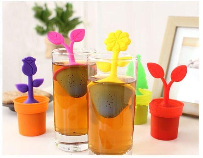 Silikonové sítko na čaj, různé barvy a tvary 1