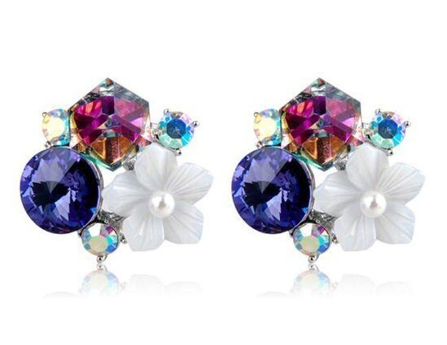 Originální náušnice s krystaly a květinou 1