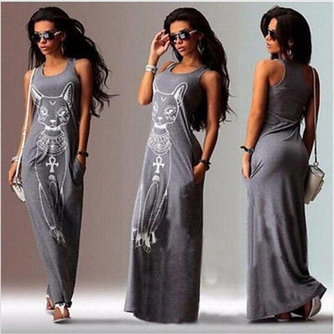 Dámské dlouhé šaty s potiskem egyptské kočky - Šedá-S 1