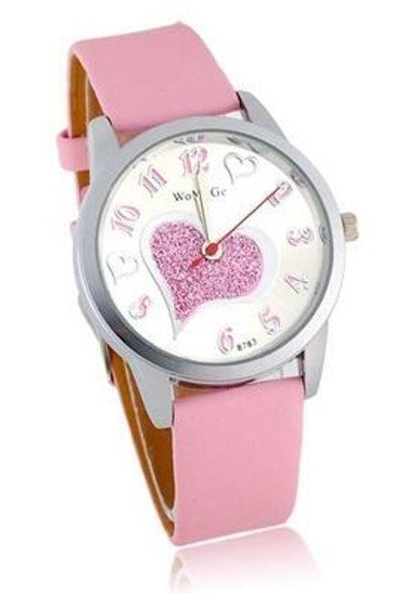 Růžové dámské hodinky se srdíčkem 1
