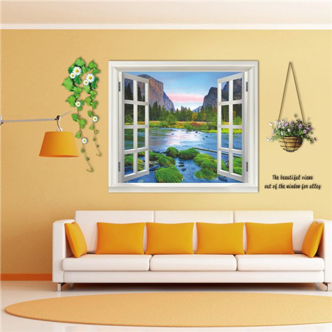 3D samolepka na zeď - Okno s květinami 1