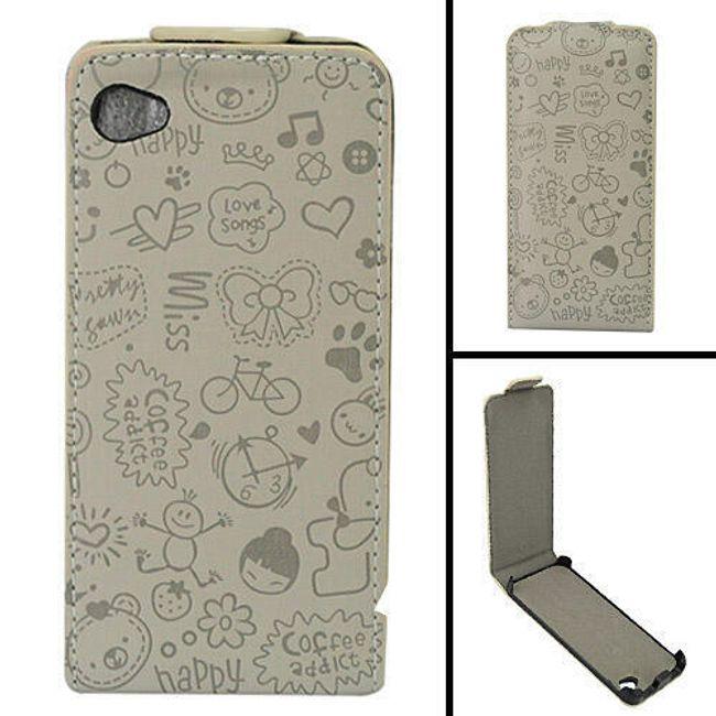 Koženkové designové ochranné pouzdro na iPhone 4 a 4S - šedý leisure time 1