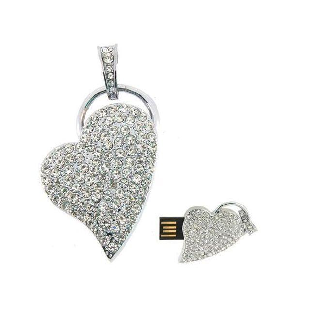 8GB Flashdisk ve tvaru srdce zdobený třpytivými kamínky 1