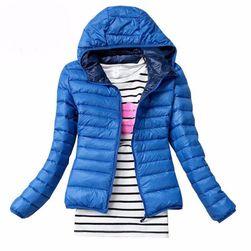 Женская осенняя стеганная куртка с капюшоном синий, размер M