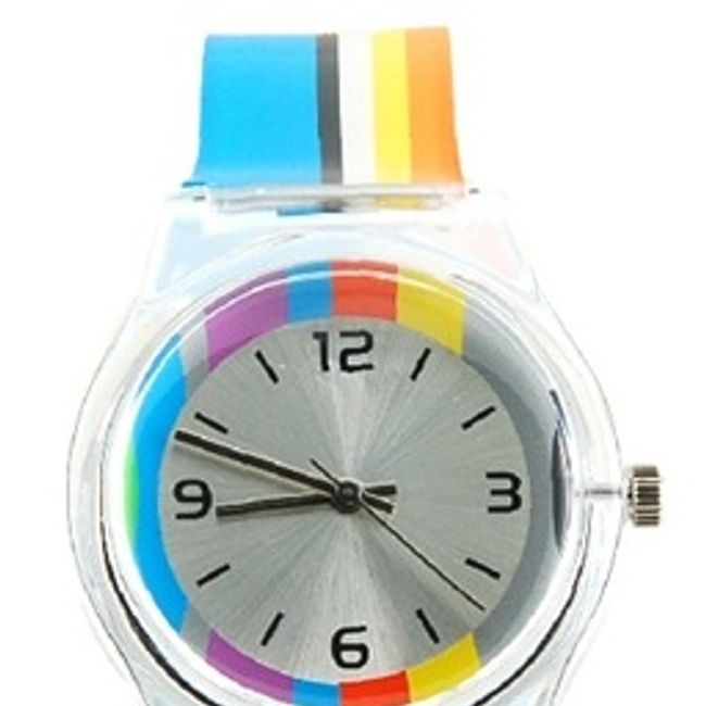Damski kolorowy prążkowany zegarek 1