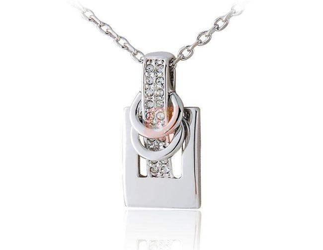 Náhrdelník s designovým přívěškem - stříbrná barva 1