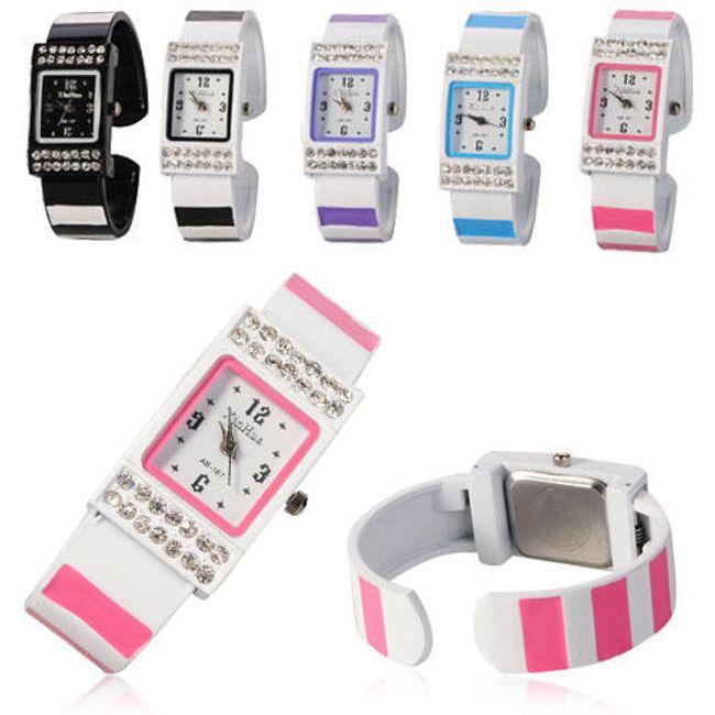 Dámské náramkové hodinky s barevnými proužky - v 5 barvách 1