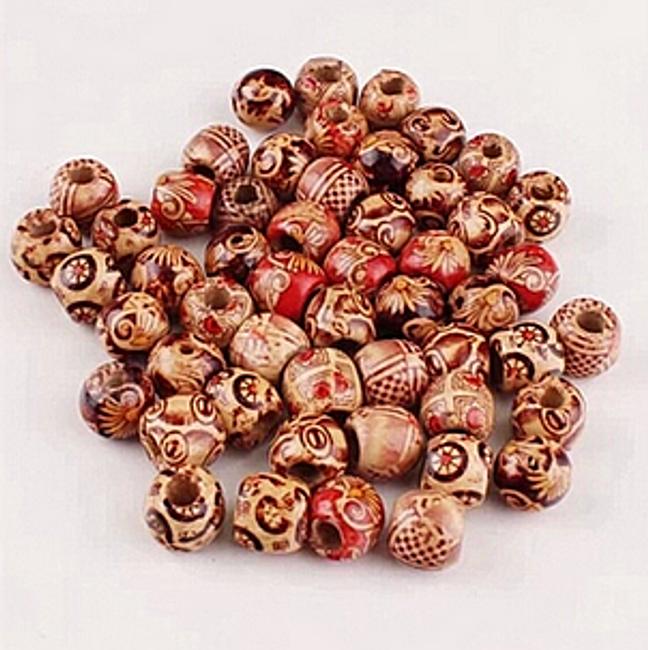 100 szt. drewnianych koralków z wzorem 1