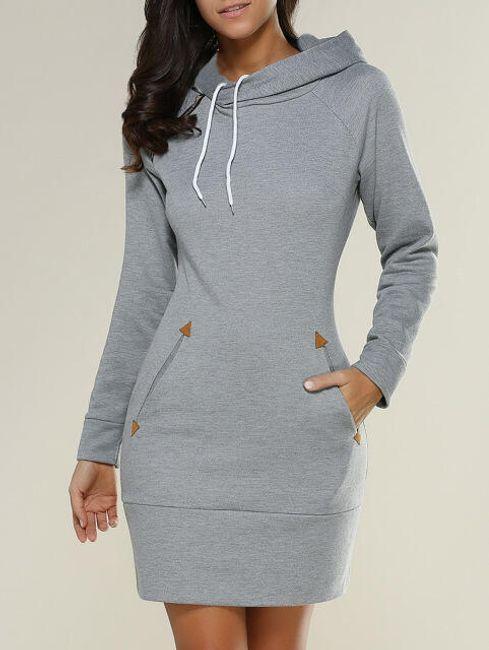 Mikinové šaty s kapucí a kapsami - Světle šedá - velikost č. 3 1