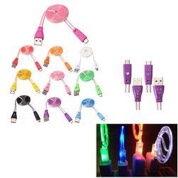 Lapos mikro USB-kábel LED-es lámpával