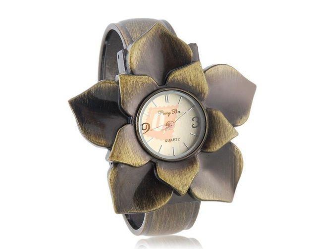 Dámské květinové hodinky - bronzová barva 1
