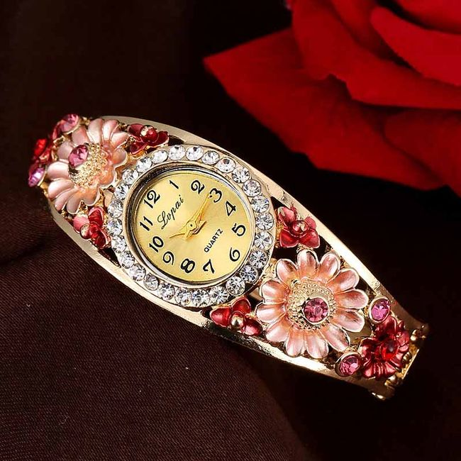 Ženska elegantna ura s cvetličnim okrasom - 5 barv 1