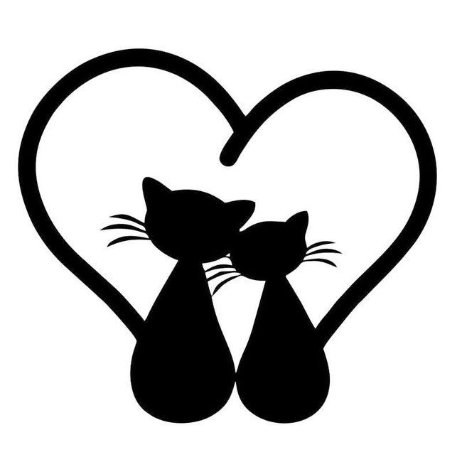 Naklejka - koty w sercu 1