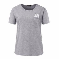 Unisex tričko s kočičkou v kapse - 6 barev