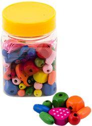 DREWNO Kolorowe koraliki w plastikowym pudełku * ZABAWKI DREWNIANE * SR_841280