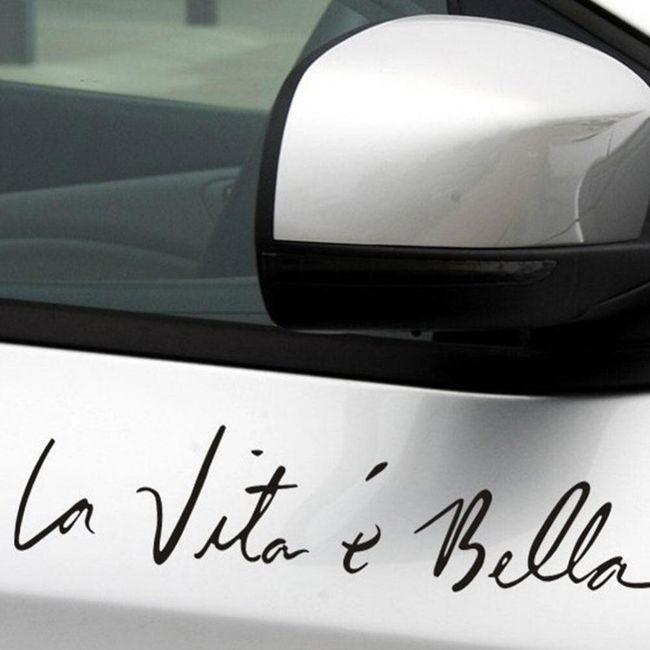 Samolepka na auto 40 x 8 cm -  La vita è bella 1