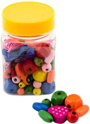 DREWNO Kolorowe koraliki w plastikowym pudełku * ZABAWKI DREWNIANE * SR_DS23449272