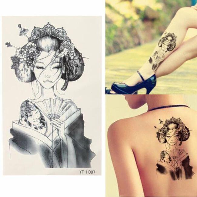 Переводная татуировка- Гейша 1