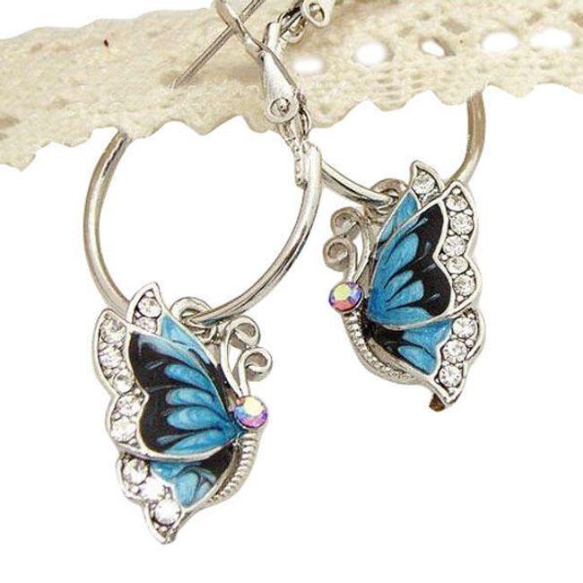 Kolczyki - niebieskie motylki 1