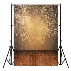 Stúdió fotó háttér 210 x 150 cm - vászon arany színű növényi motívummal