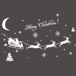 Božićna nalepnica sa Deda Mraza i jelena