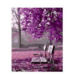 DIY slika u boji - klupe ispod drveća