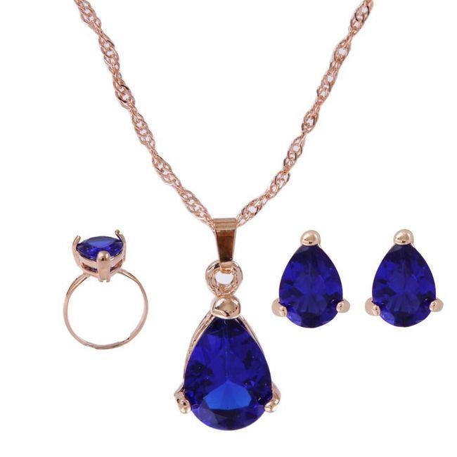 Sada šperků s modrým kamínkem 1