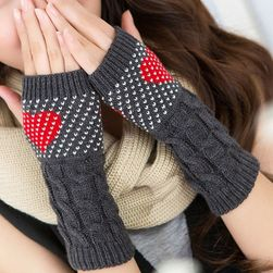 Női kesztyű pletené rukavice se srdíčkem